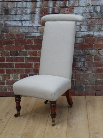 19c Reupholstered Walnut Prie Dieu chair