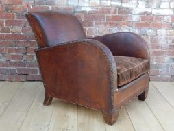 Art Deco French Leather Club Armchair