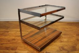 MERROW ASSOCIATES CHROME & ROSEWOOD TROLLEY