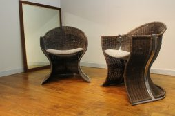 RARE PIEFF 'VENUS' WICKER CHAIRS