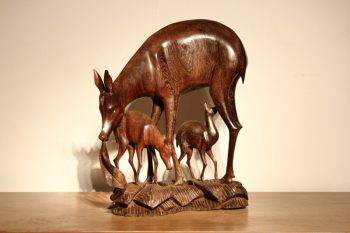 Carved Wenge Wood Deer