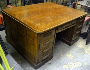 1930S Oak Partner's Desk