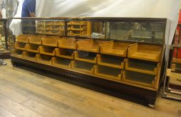 Large Mahogany Bronze Framed Haberdashery Drapers Shop Counter With Drawers
