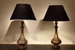 Pair Of 1960s Wood And Brass Lamps