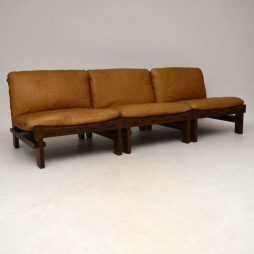1960's Danish Leather Modular Sofa