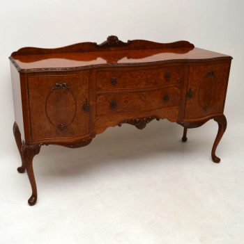 Antique Burr Walnut Queen Anne Style Sideboard