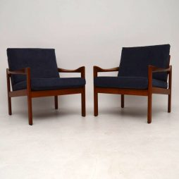 1960's Pair of Danish Teak Armchairs by Illum Wikkelso for Niels Eilersen