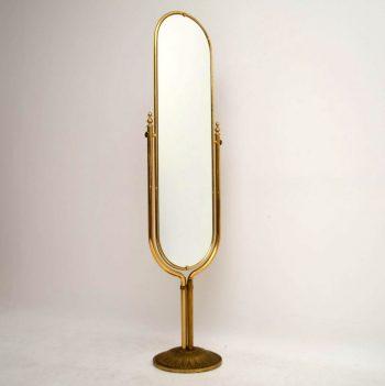 1950's Vintage Italian Brass Cheval Mirror