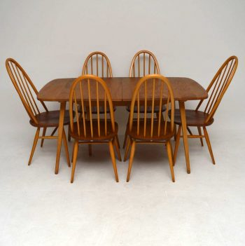 1960's Ercol Grand Windsor Dining Table & Six Chairs