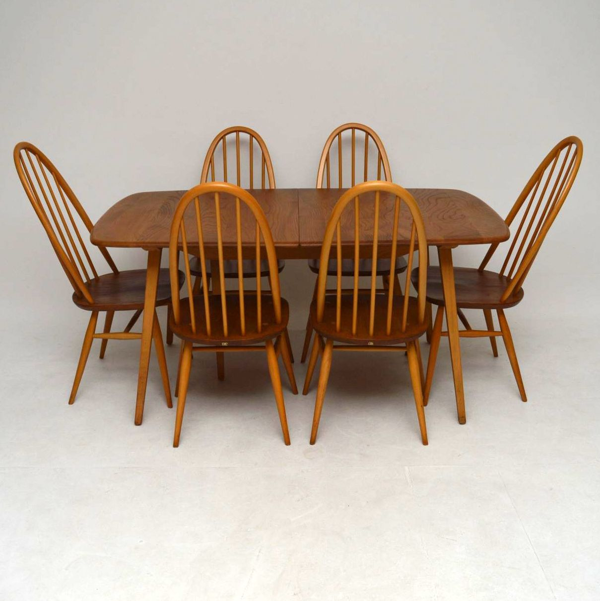 1960s Ercol Grand Windsor Dining Table Six Chairs