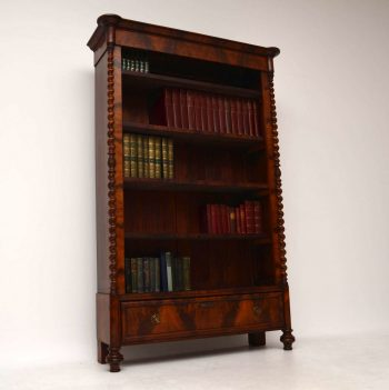 Antique Flame Mahogany Open Bookcase