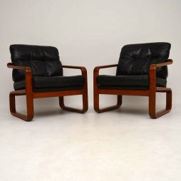 Pair of 1960's Danish Teak & Leather Armchairs