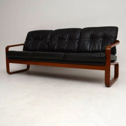 1960's Danish Teak & Leather Vintage Sofa