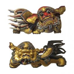 Chinese Dogs of Fu 19th Century wood carvings