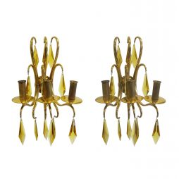 Pair of crystal and bronze wall lights