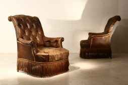 19th Century French Leather Chairs