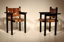 Pair Of Unusual French Leather Side Chairs