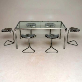1970's Vintage Dining Table & Tractor Stools by Rodney Kinsman for OMK