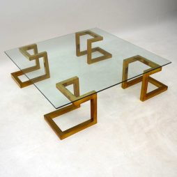 1970's Vintage Italian Brass & Glass Coffee Table