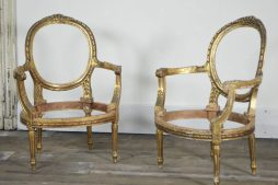 PAIR OF GILT LOUIS XVI FAUTEUIL