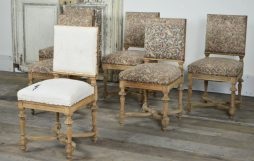Set of 6 French oak dinning chairs