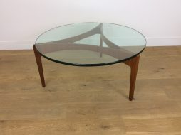 Mid Century Danish Teak and Glass Table by Sven Ellekaer