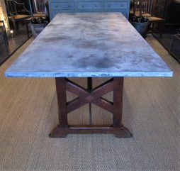 A 19thC zinc and pine refectory table