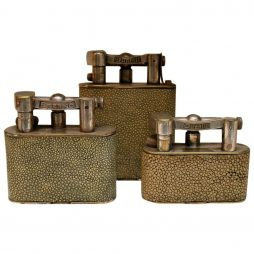 Vintage Shagreen Dunhill and Eterno Table Lighters