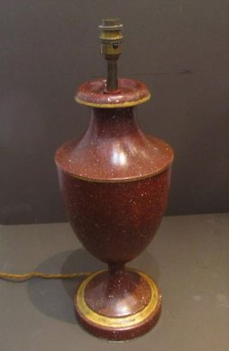 A faux porphyry toleware table lamp
