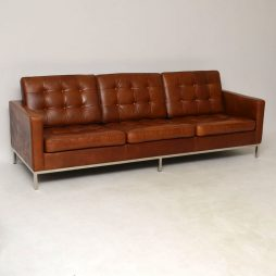 Vintage Florence Knoll Leather & Chrome Sofa