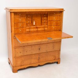 Antique Swedish Biedermeier Satin Birch Secretaire Chest