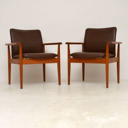 1960's Pair of Danish Leather & Teak Vintage Armchairs by Finn Juhl