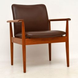 1960's Danish Vintage Teak & Leather Diplomat Armchair by Finn Juhl