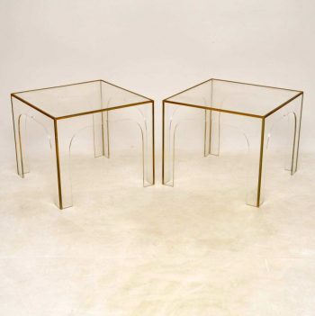 1970's Pair of Perspex and Brass Side Tables