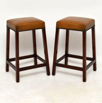 Pair of Antique Leather & Mahogany Bar Stools