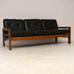 1960's Walnut, Leather & Chrome Vintage Sofa