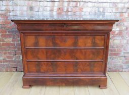 19th Century Mahogany Marble Top Chest Of Drawers