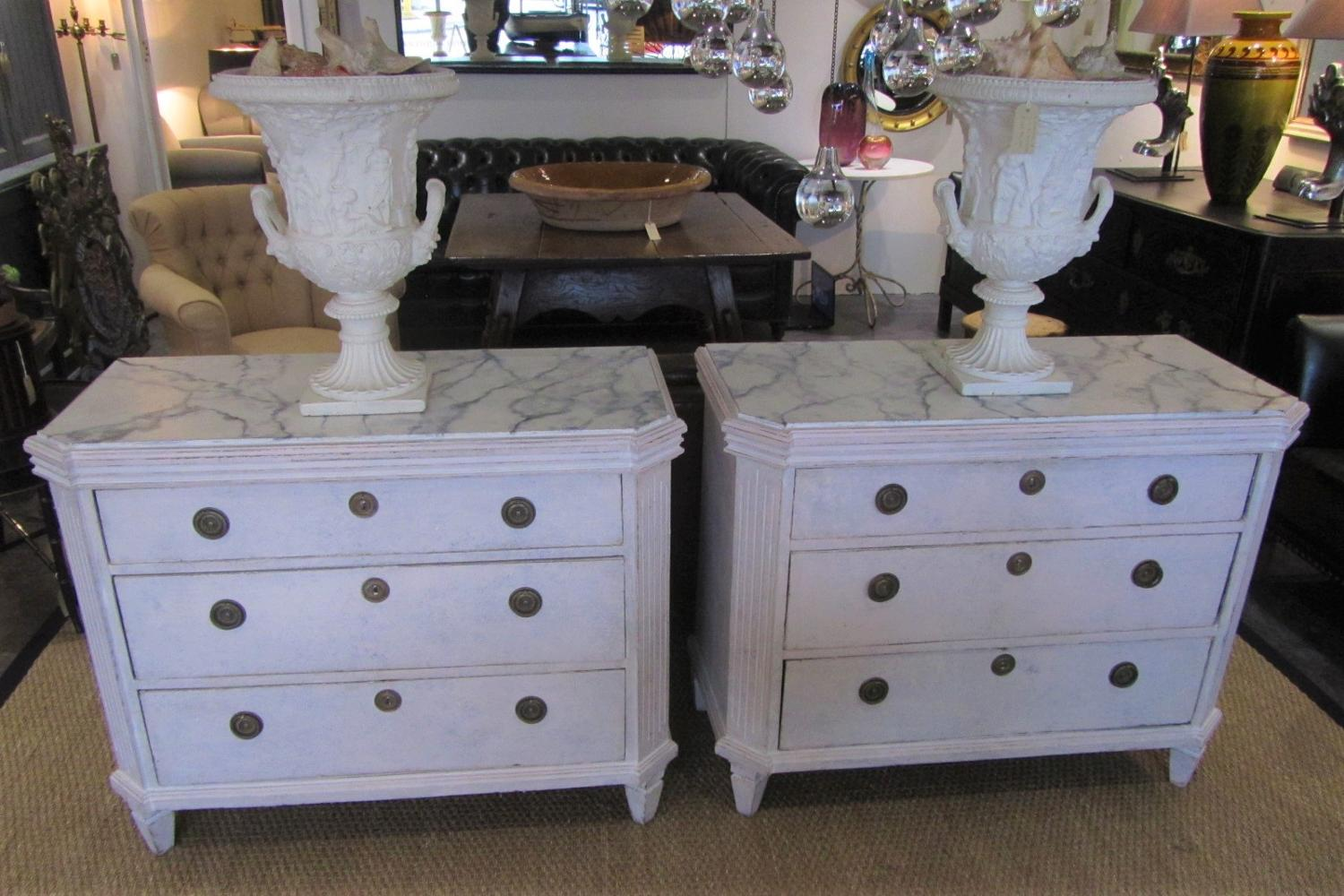A Pair Of Swedish Painted Commodes