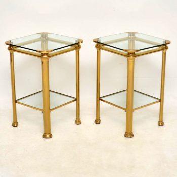 1970's Pair of Vintage Italian Brass Tables Signed 'Mara'