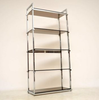 1960's Vintage Chrome Bookcase / Cabinet by Pieff