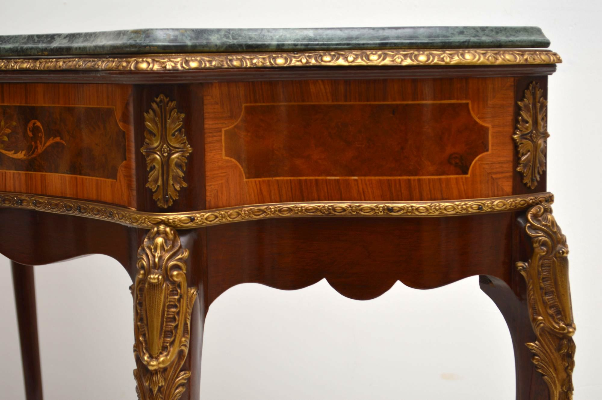 Antique French Marble Top Ormolu Mounted Console Table