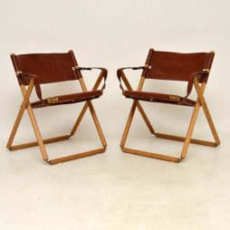 Pair of Vintage Danish Leather Folding Safari Chairs