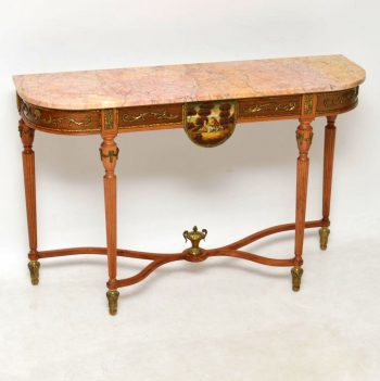 Antique French Louis XV Style Marble Top Console Table