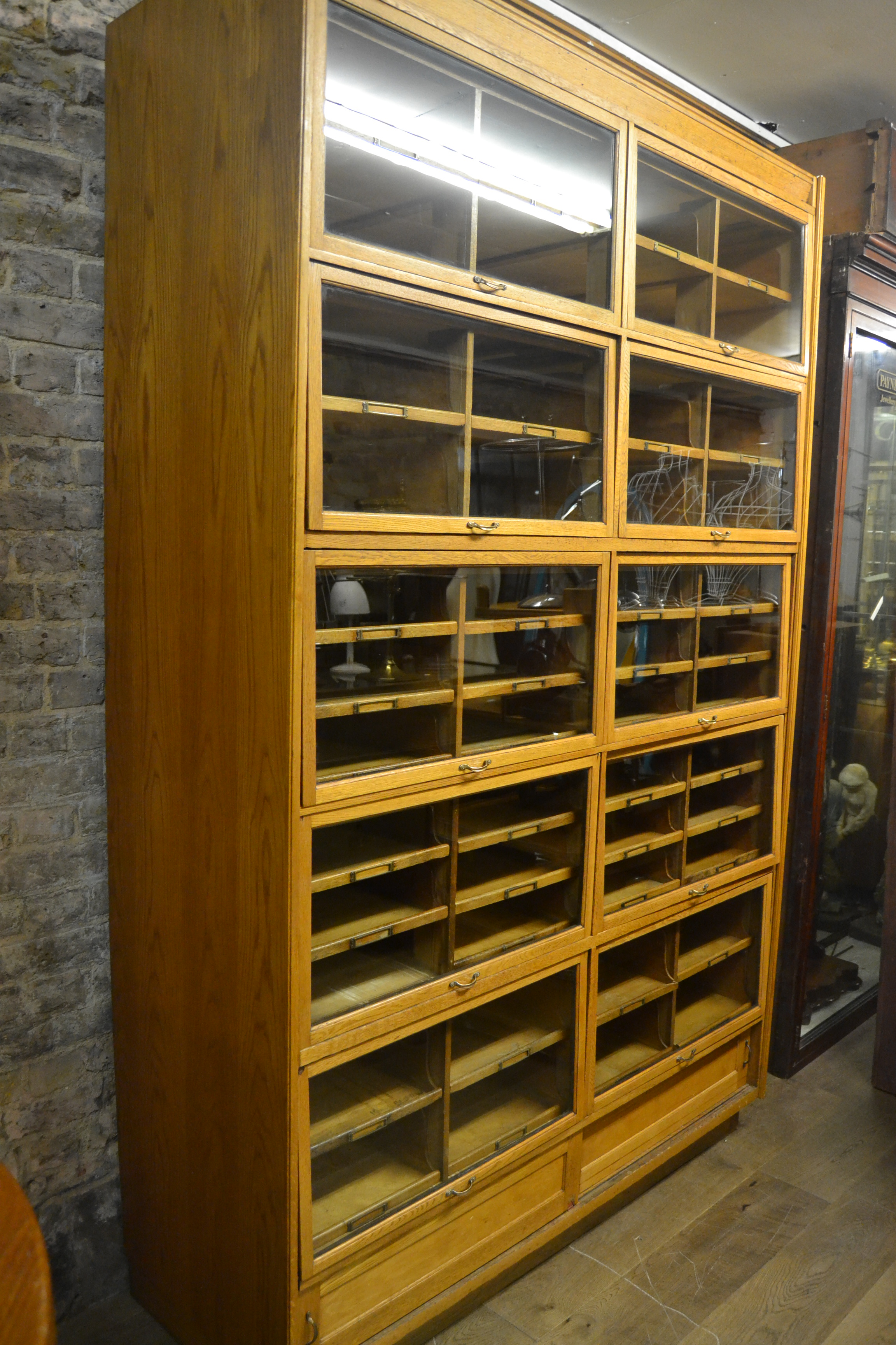 Antique Oak Haberdashery Shop Display Cabinet Interior