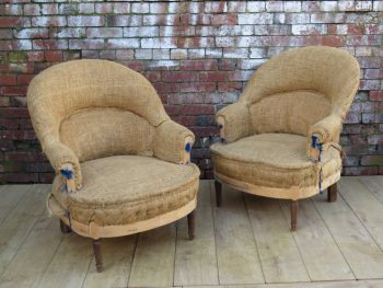 Pair 1940s French Tub Chairs For Re-upholstery