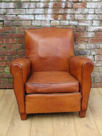 1950s French Leather Club Chair