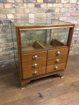 Oak and Brass Vintage Haberdashery Counter
