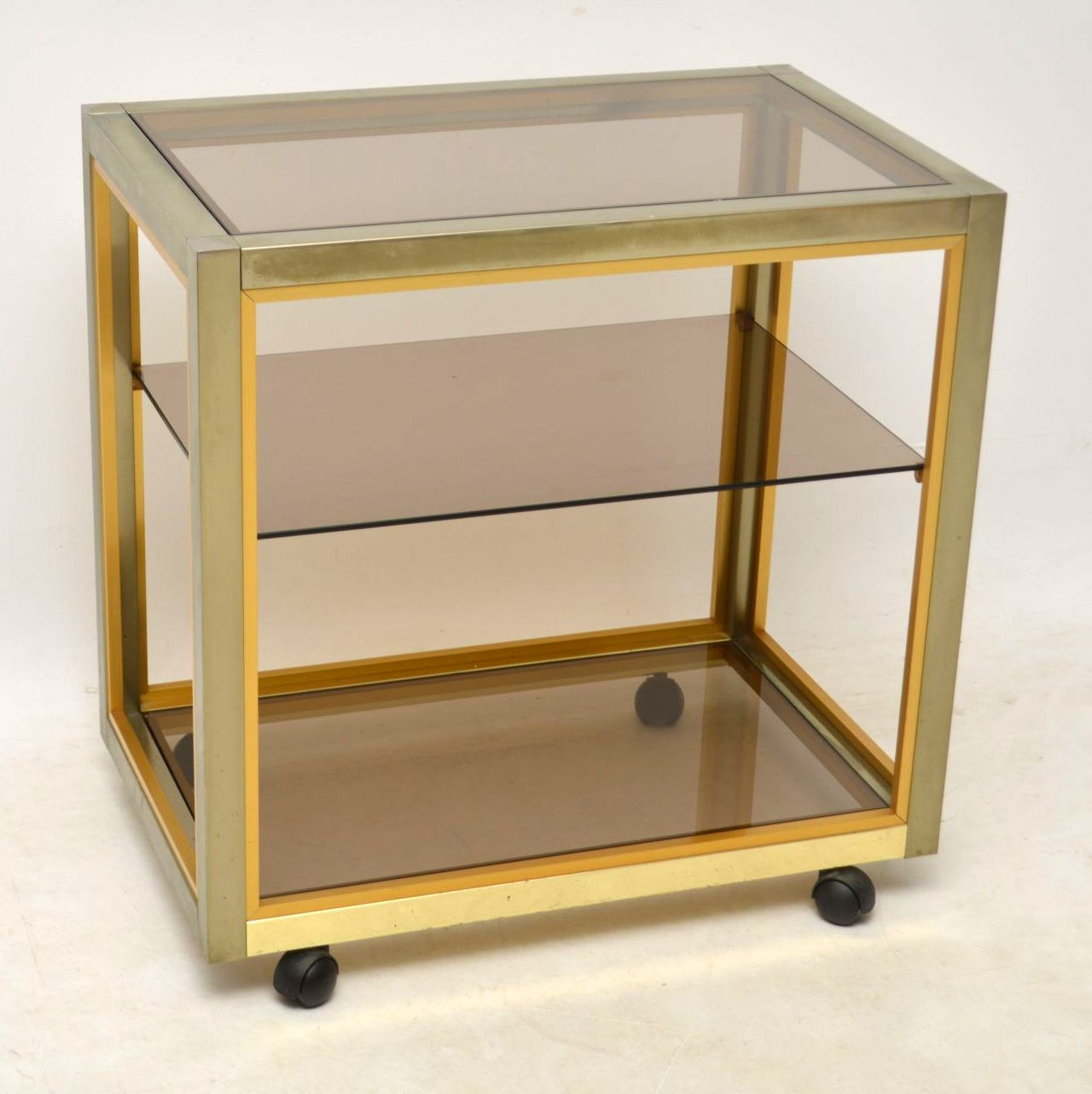 1970's Italian Vintage Brass Drinks Trolley by Zevi