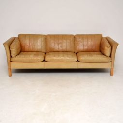 1960's Danish Vintage Leather Sofa by Mogens Hansen