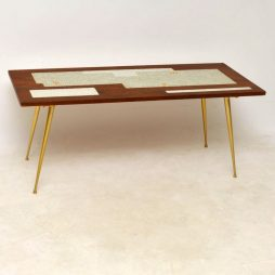 1960's Teak & Brass Tiled Top Coffee Table